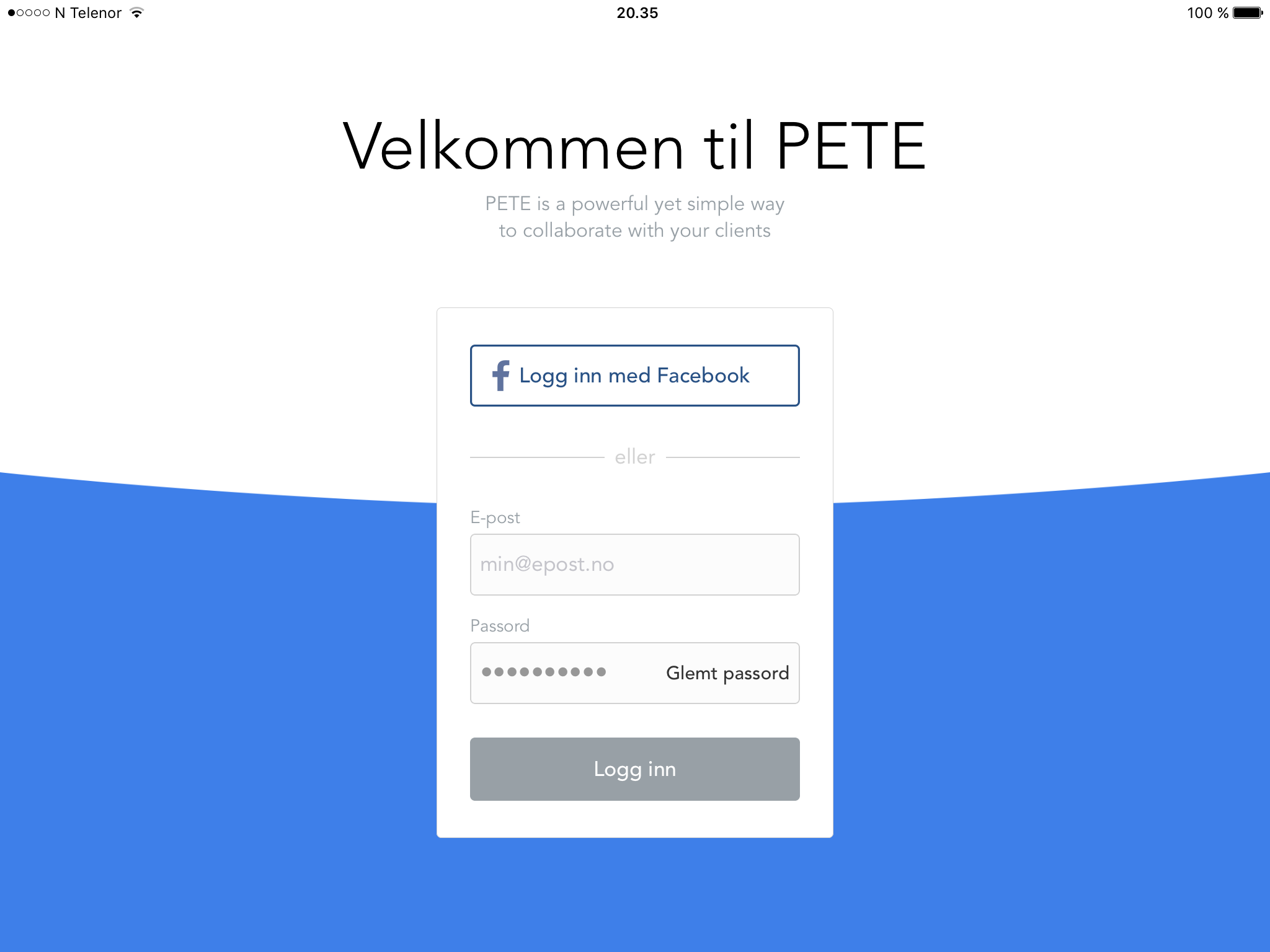 Login PETE app