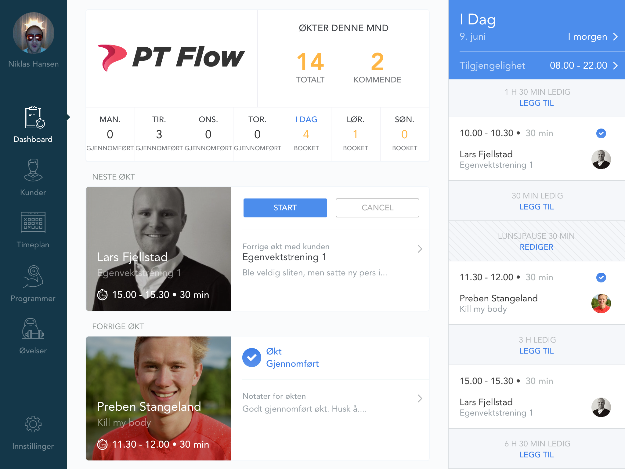 Dashboardet i PT Flow