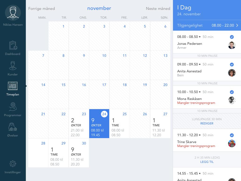 Kalender som er synkronisert med iCal. Book inn kunder når det passer for deg!