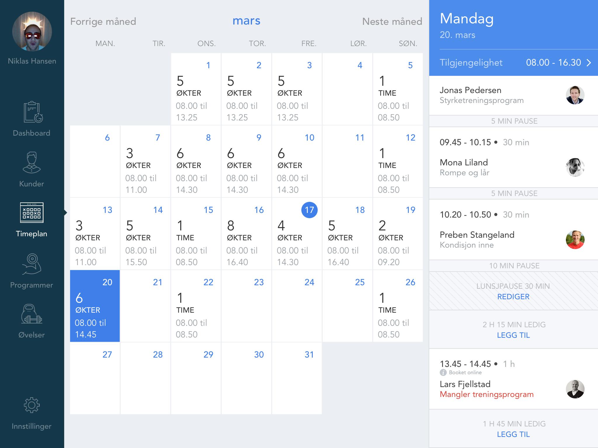 Slik ser PTens kalender ut i PT Flow