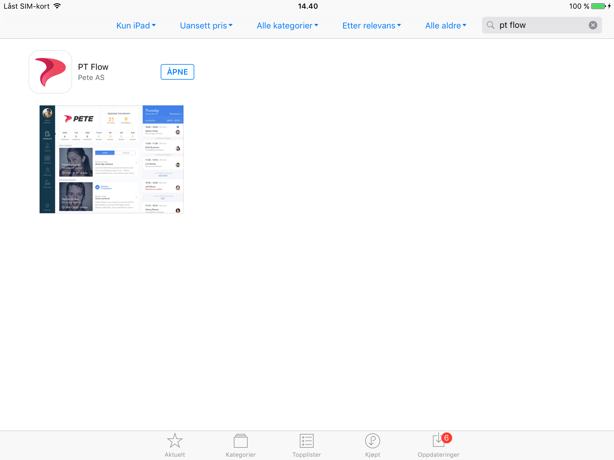 Søk etter PT Flow i App Store på din iPad